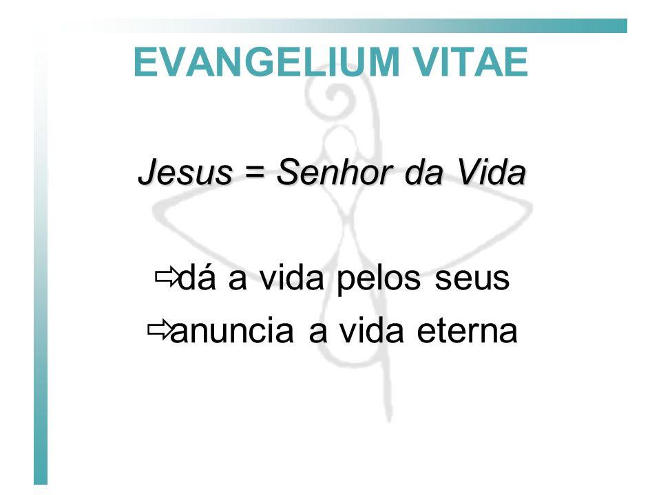 EVANGELIUM VITAE Jesus = Senhor da Vida dá a vida pelos seus