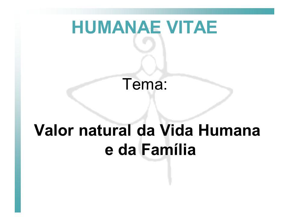Valor natural da Vida Humana e da Família