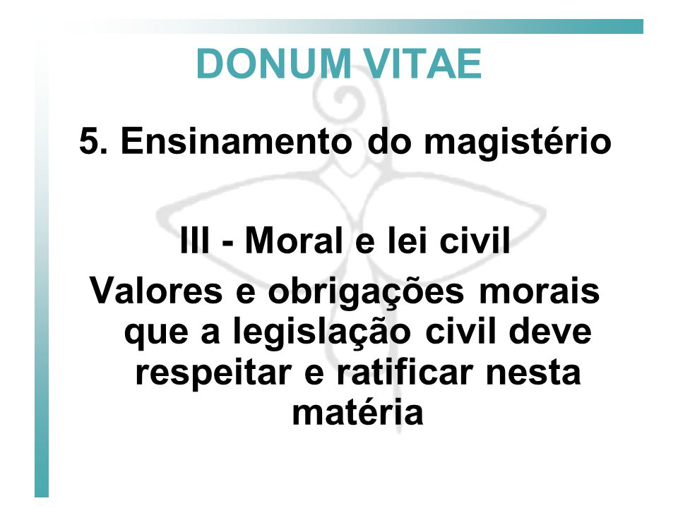5. Ensinamento do magistério