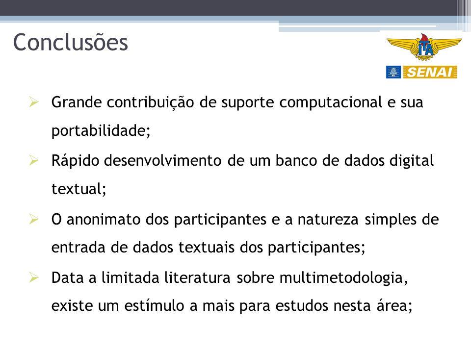 Conclusões Grande contribuição de suporte computacional e sua portabilidade; Rápido desenvolvimento de um banco de dados digital textual;