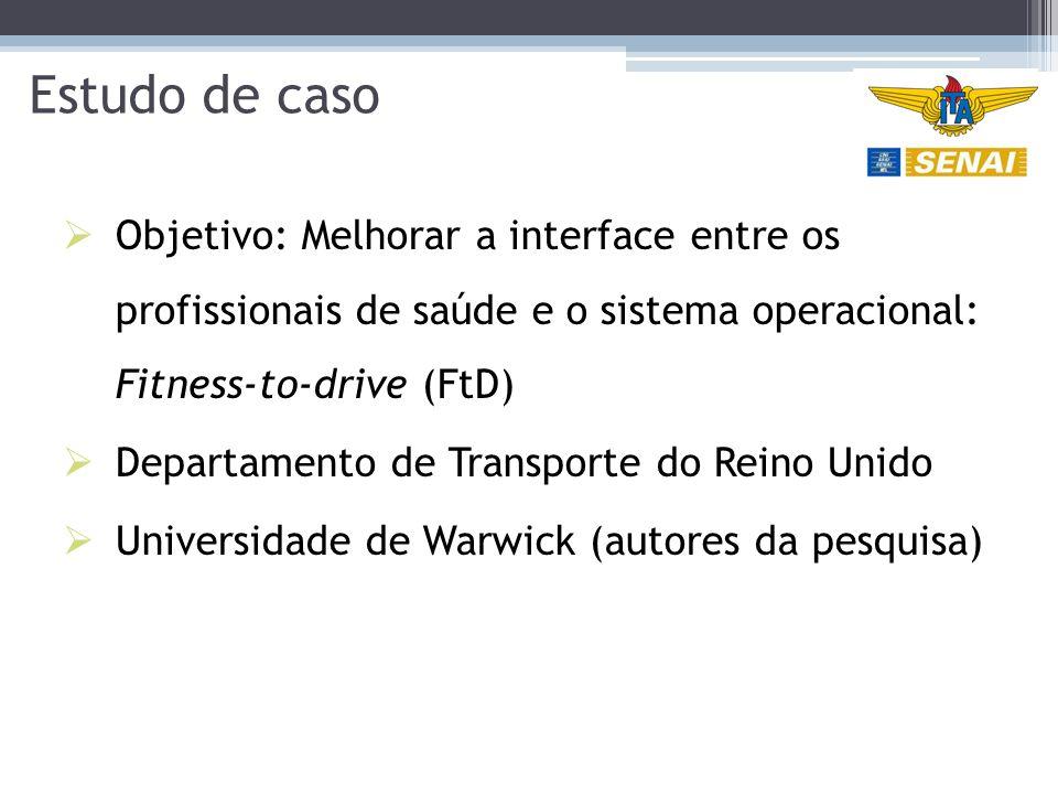 Estudo de caso Objetivo: Melhorar a interface entre os profissionais de saúde e o sistema operacional: Fitness-to-drive (FtD)