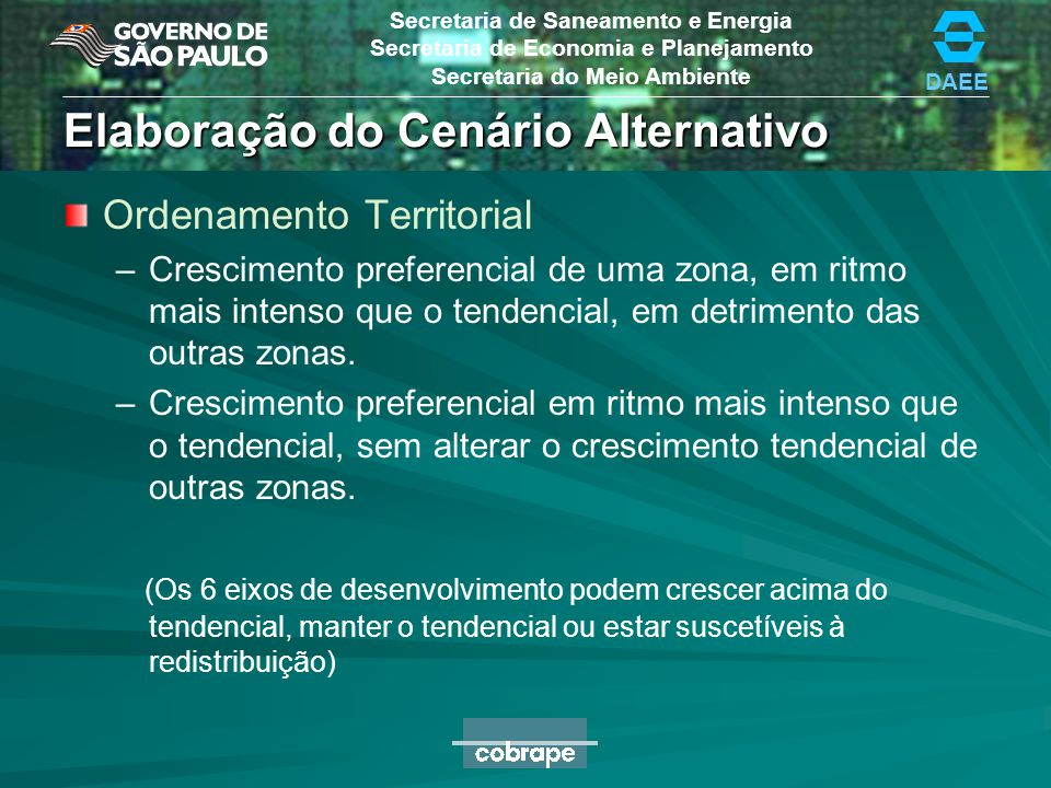Elaboração do Cenário Alternativo