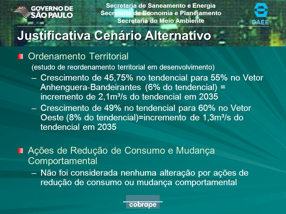 Justificativa Cenário Alternativo