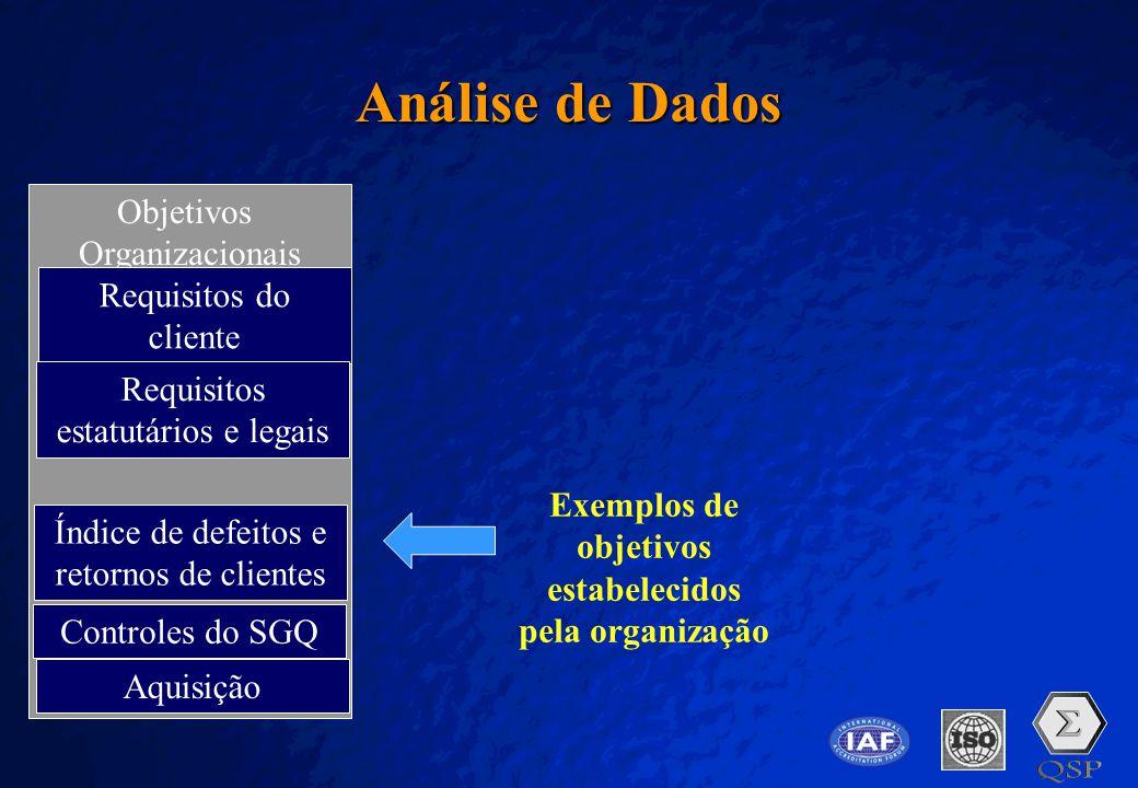 Exemplos de objetivos estabelecidos pela organização