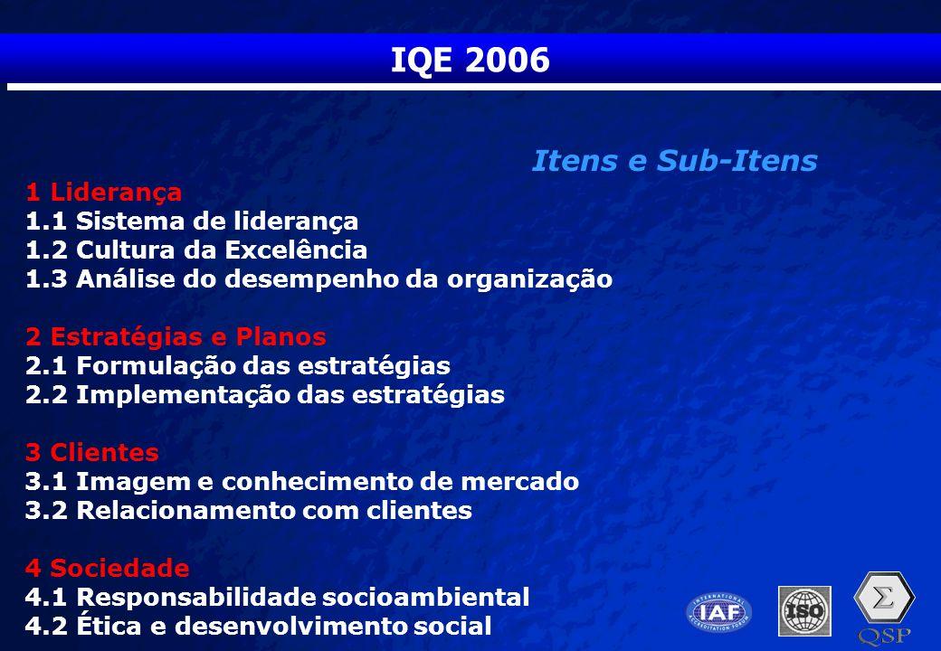 IQE 2006 Itens e Sub-Itens 1 Liderança 1.1 Sistema de liderança