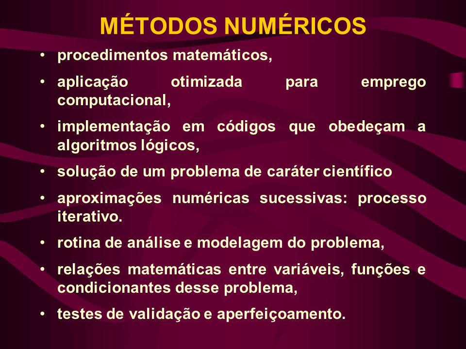 MÉTODOS NUMÉRICOS procedimentos matemáticos,