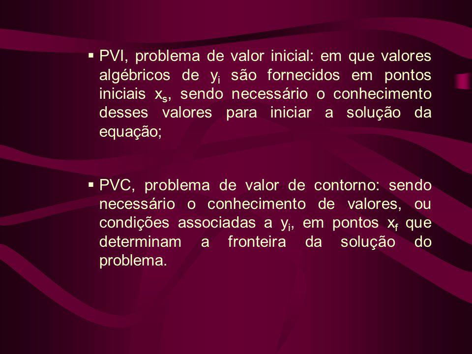 PVI, problema de valor inicial: em que valores algébricos de yi são fornecidos em pontos iniciais xs, sendo necessário o conhecimento desses valores para iniciar a solução da equação;