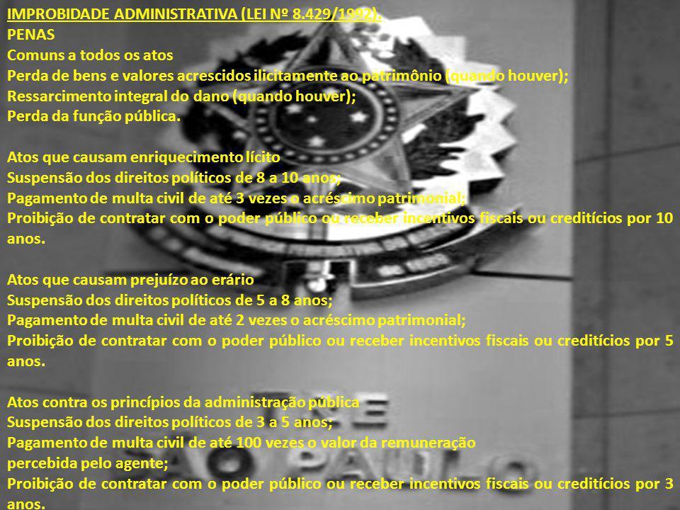 IMPROBIDADE ADMINISTRATIVA (LEI Nº 8.429/1992).