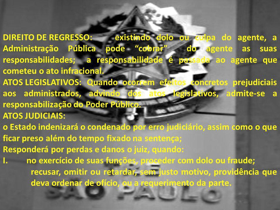 Direito de Regresso: existindo dolo ou culpa do agente, a Administração Pública pode cobrar do agente as suas responsabilidades; a responsabilidade é passada ao agente que cometeu o ato infracional.