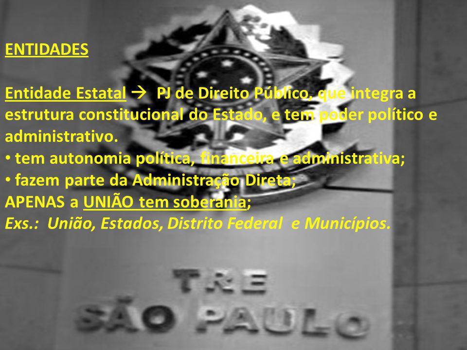 Entidades Entidade Estatal  PJ de Direito Público, que integra a estrutura constitucional do Estado, e tem poder político e administrativo.