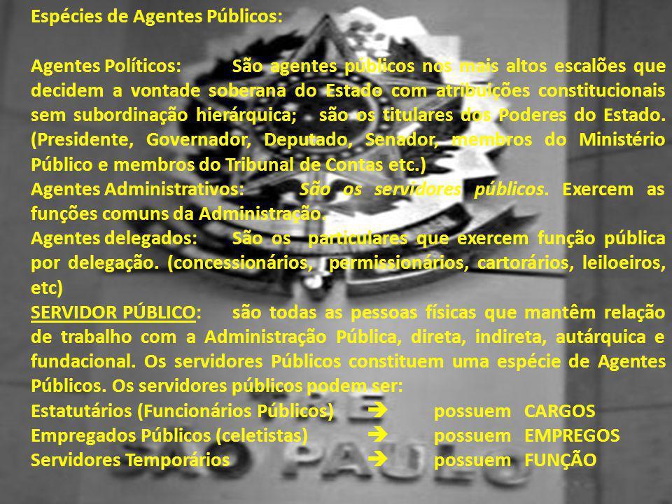 Espécies de Agentes Públicos: