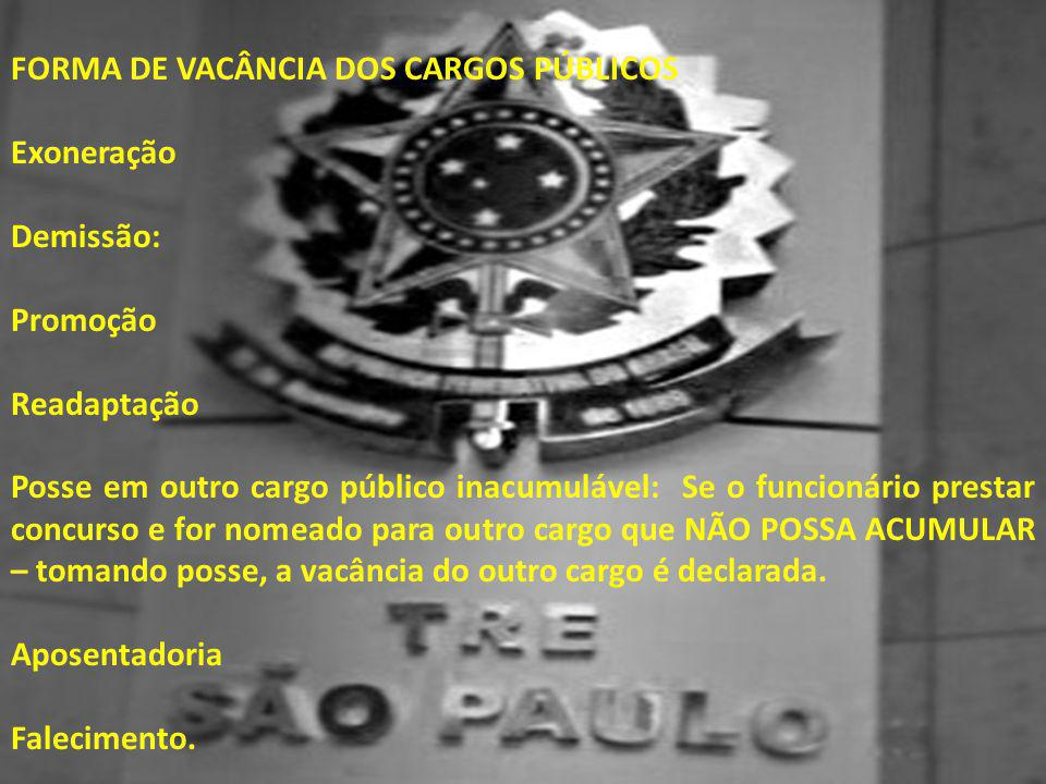 FORMA DE VACÂNCIA DOS CARGOS PÚBLICOS