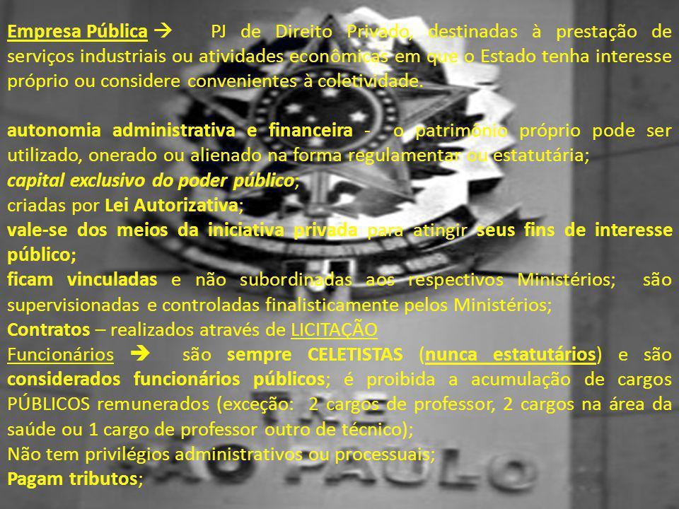 Empresa Pública  PJ de Direito Privado, destinadas à prestação de serviços industriais ou atividades econômicas em que o Estado tenha interesse próprio ou considere convenientes à coletividade.
