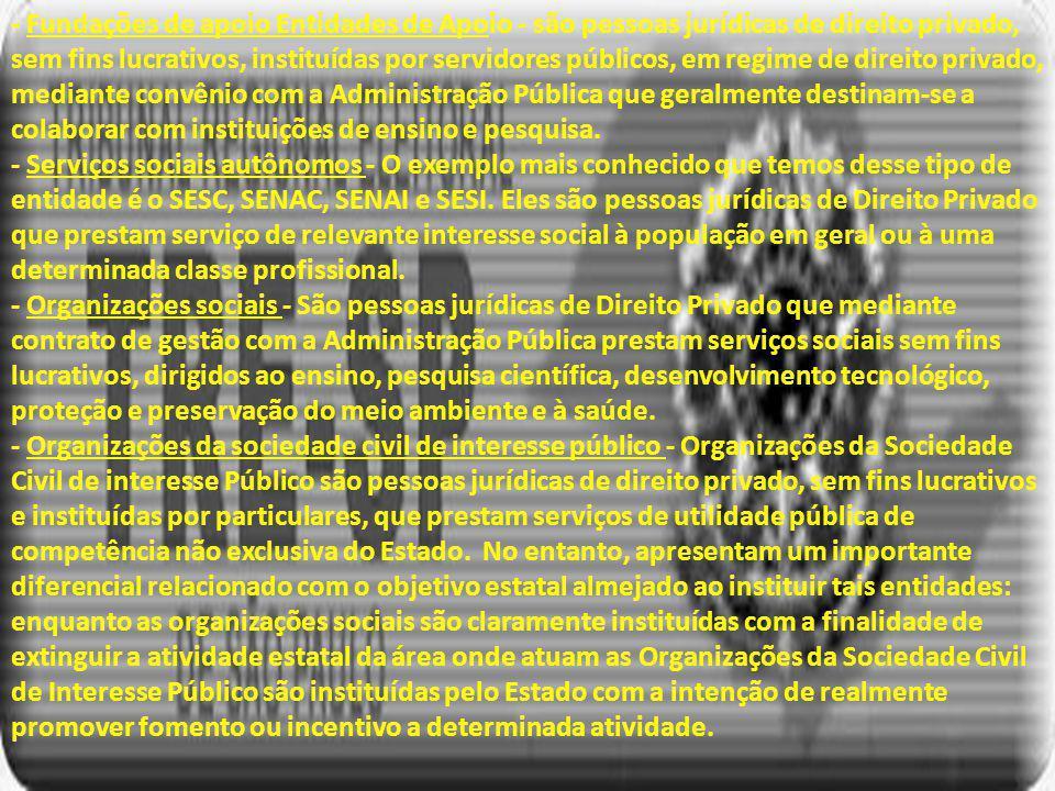 - Fundações de apoio Entidades de Apoio - são pessoas jurídicas de direito privado, sem fins lucrativos, instituídas por servidores públicos, em regime de direito privado, mediante convênio com a Administração Pública que geralmente destinam-se a colaborar com instituições de ensino e pesquisa.