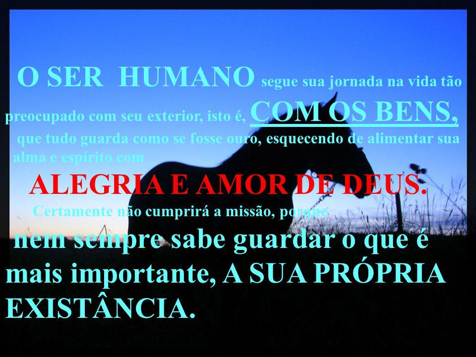 O SER HUMANO segue sua jornada na vida tão preocupado com seu exterior, isto é, COM OS BENS,