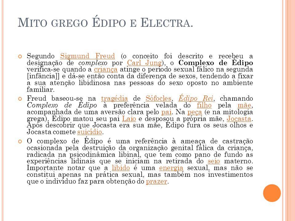 Mito grego Édipo e Electra.