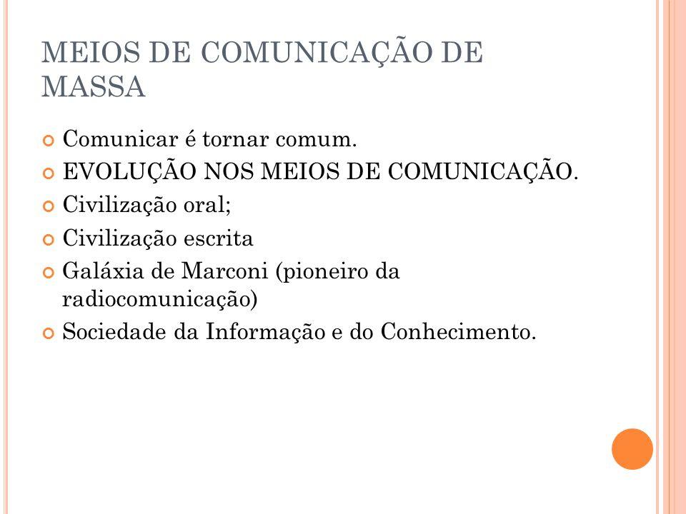 MEIOS DE COMUNICAÇÃO DE MASSA
