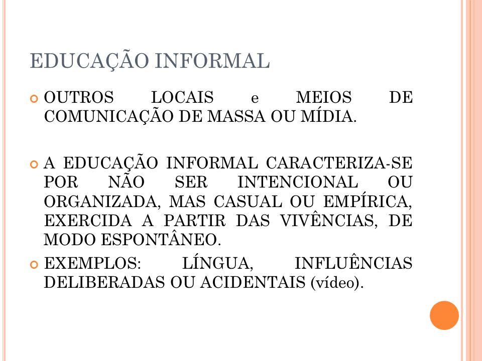 EDUCAÇÃO INFORMAL OUTROS LOCAIS e MEIOS DE COMUNICAÇÃO DE MASSA OU MÍDIA.