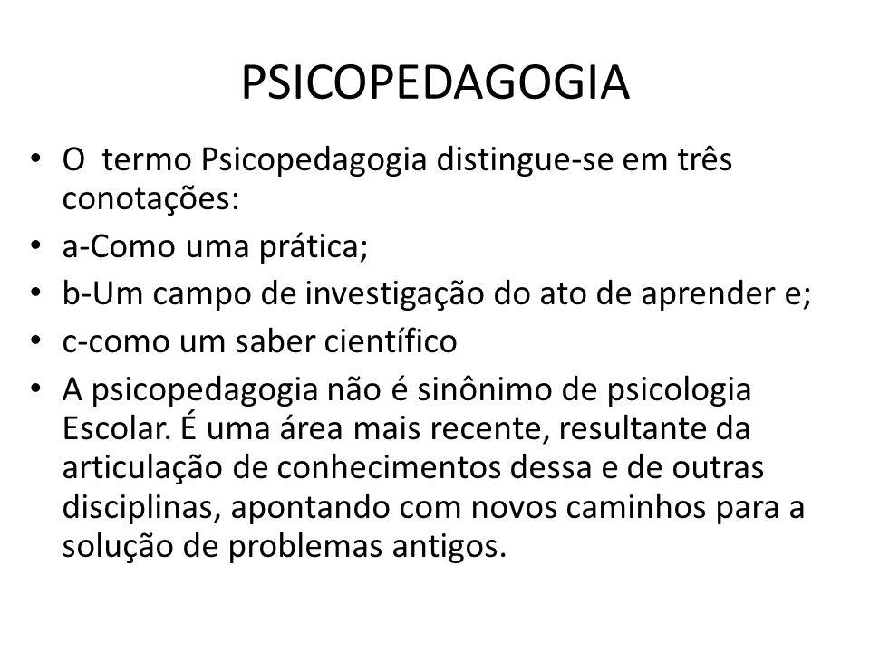 PSICOPEDAGOGIA O termo Psicopedagogia distingue-se em três conotações: