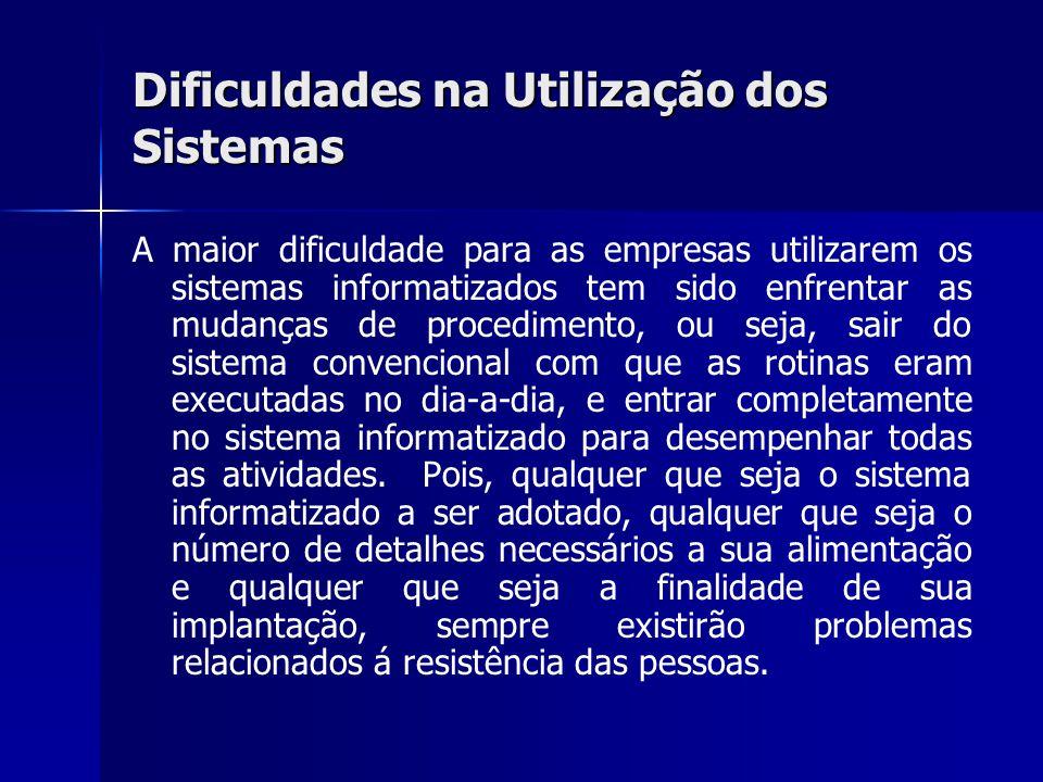 Dificuldades na Utilização dos Sistemas