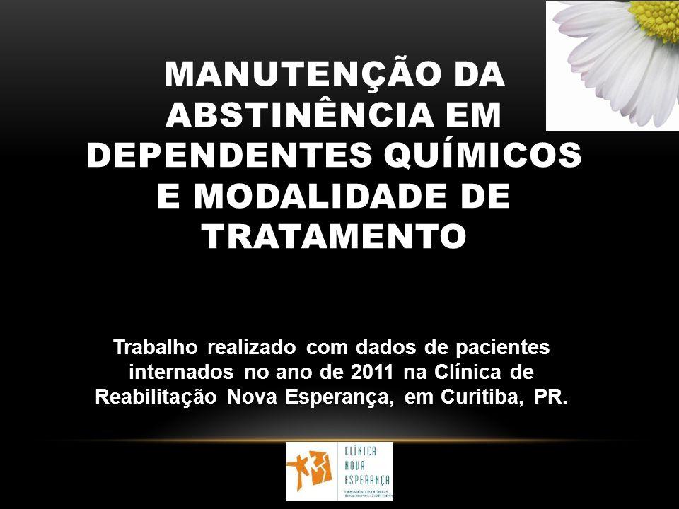 MANUTENÇÃO DA ABSTINÊNCIA EM DEPENDENTES QUÍMICOS E MODALIDADE DE TRATAMENTO