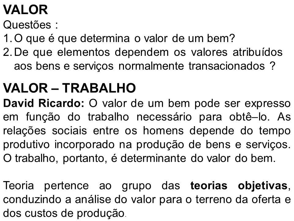 VALOR VALOR – TRABALHO Questões :