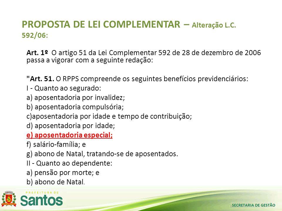 PROPOSTA DE LEI COMPLEMENTAR – Alteração L.C. 592/06: