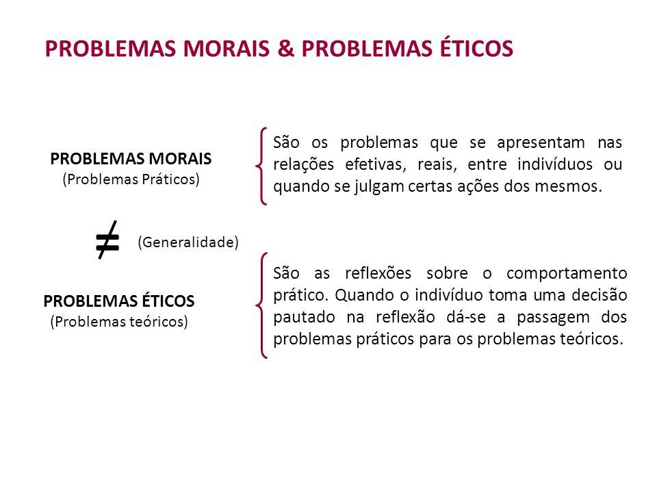 = PROBLEMAS MORAIS & PROBLEMAS ÉTICOS