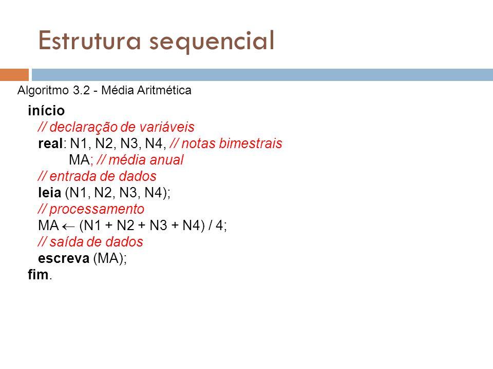 Estrutura sequencial // declaração de variáveis