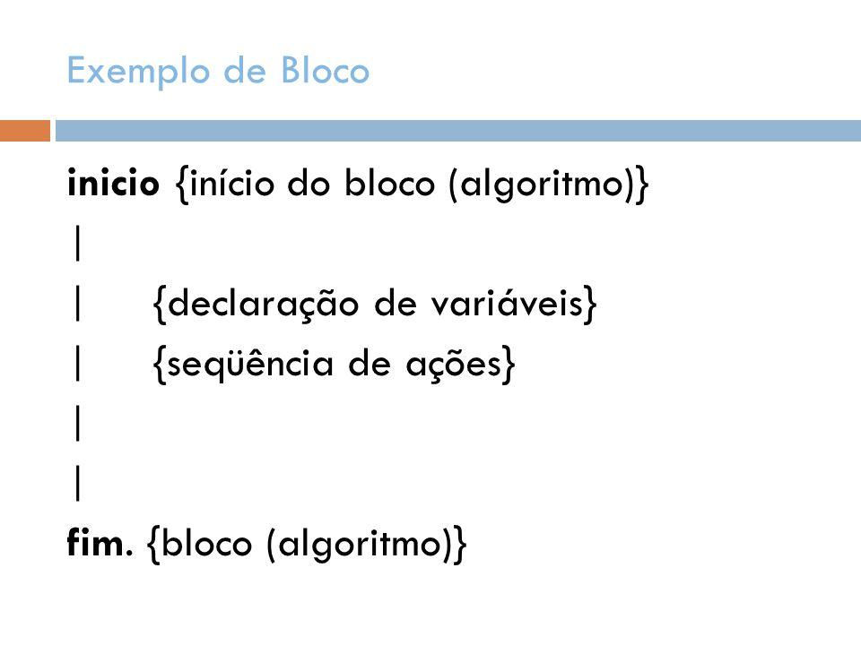Exemplo de Bloco inicio {início do bloco (algoritmo)} | | {declaração de variáveis} | {seqüência de ações} fim.
