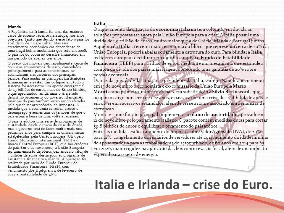 Italia e Irlanda – crise do Euro.