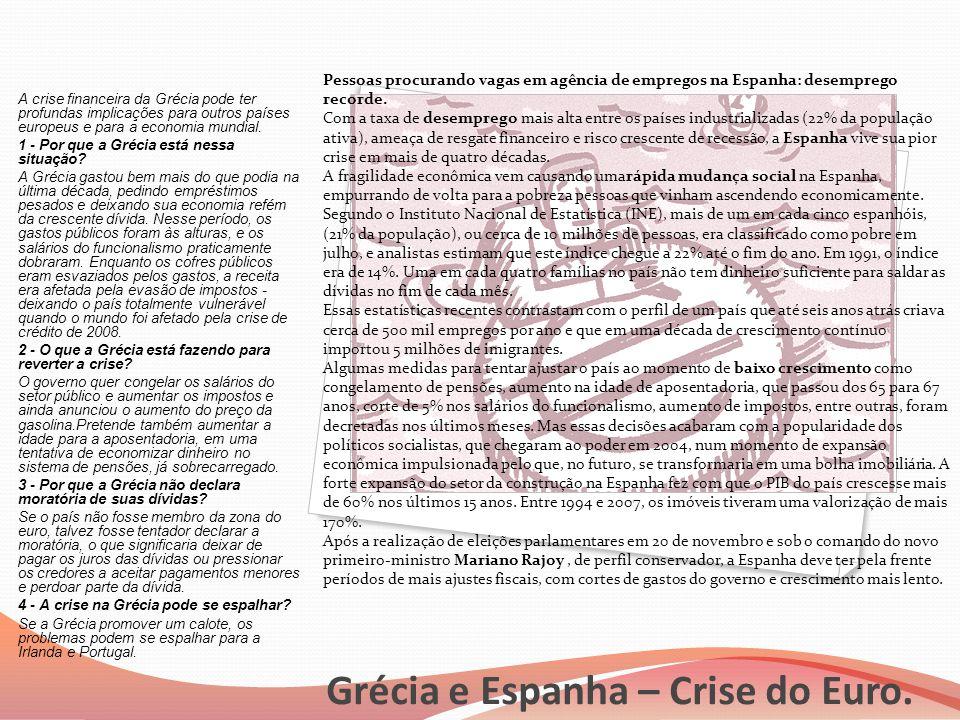 Grécia e Espanha – Crise do Euro.