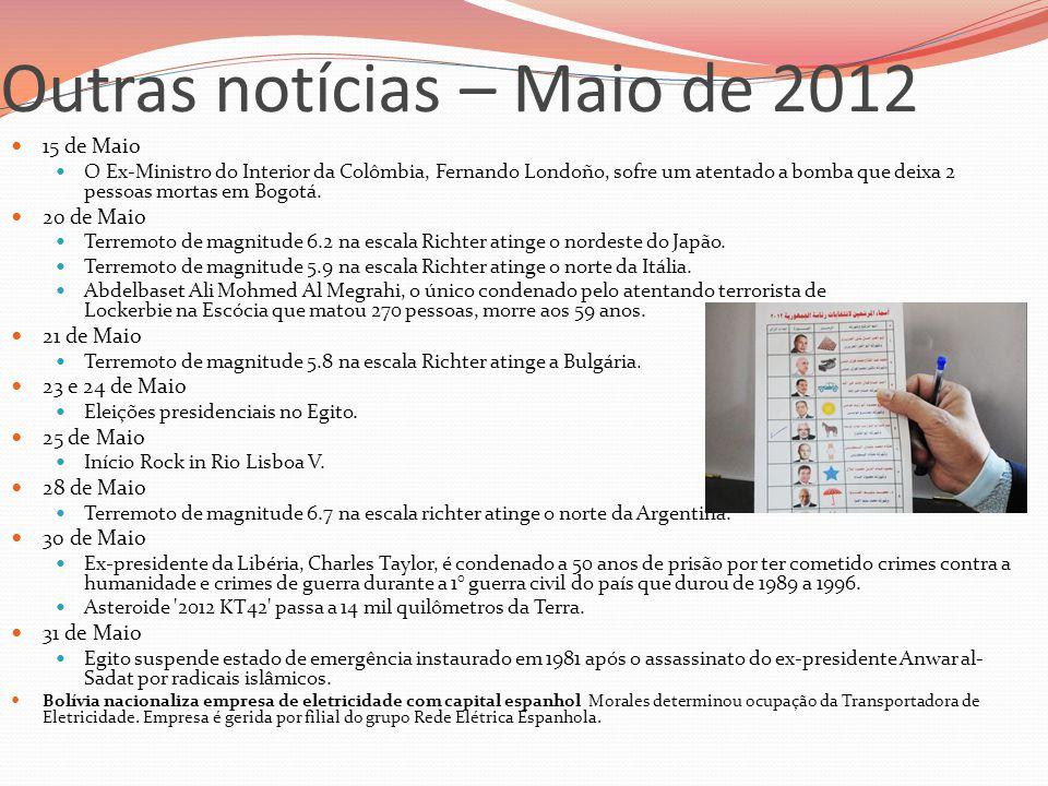 Outras notícias – Maio de 2012