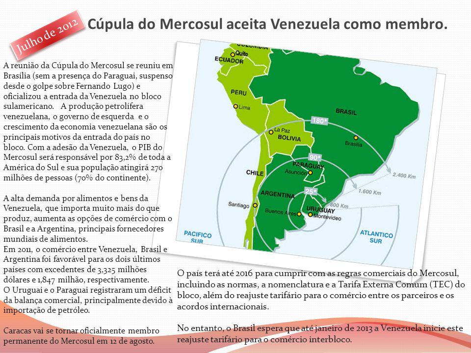 Cúpula do Mercosul aceita Venezuela como membro.