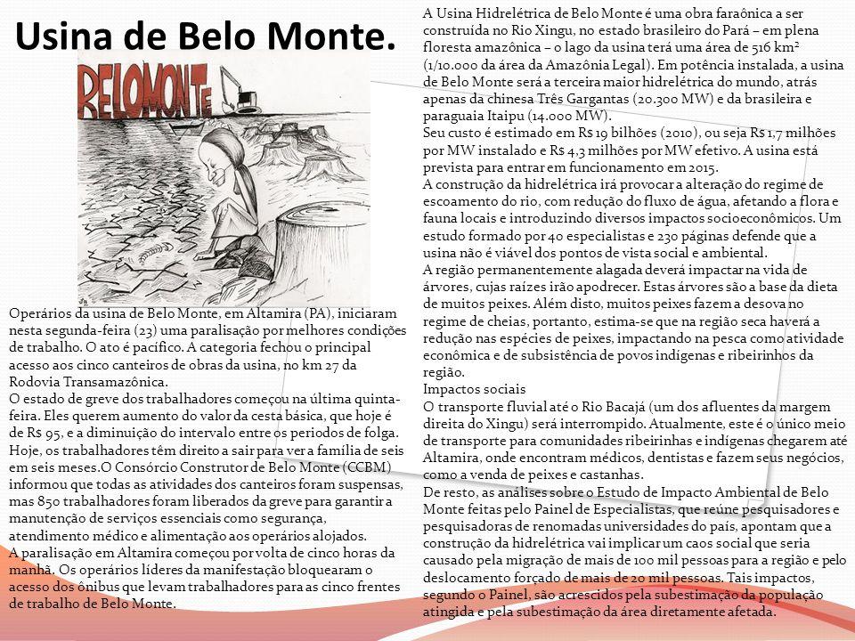 A Usina Hidrelétrica de Belo Monte é uma obra faraônica a ser construída no Rio Xingu, no estado brasileiro do Pará – em plena floresta amazônica – o lago da usina terá uma área de 516 km² (1/10.000 da área da Amazônia Legal). Em potência instalada, a usina de Belo Monte será a terceira maior hidrelétrica do mundo, atrás apenas da chinesa Três Gargantas (20.300 MW) e da brasileira e paraguaia Itaipu (14.000 MW).