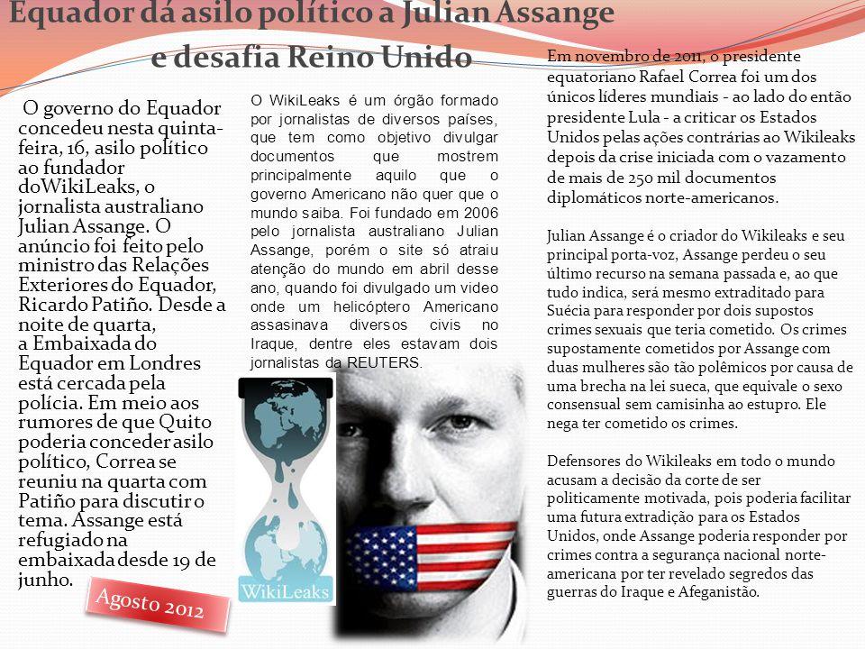 Equador dá asilo político a Julian Assange