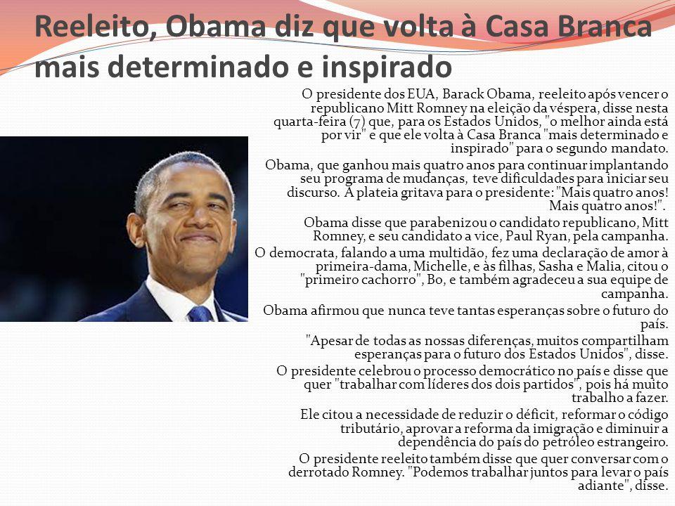 Reeleito, Obama diz que volta à Casa Branca mais determinado e inspirado