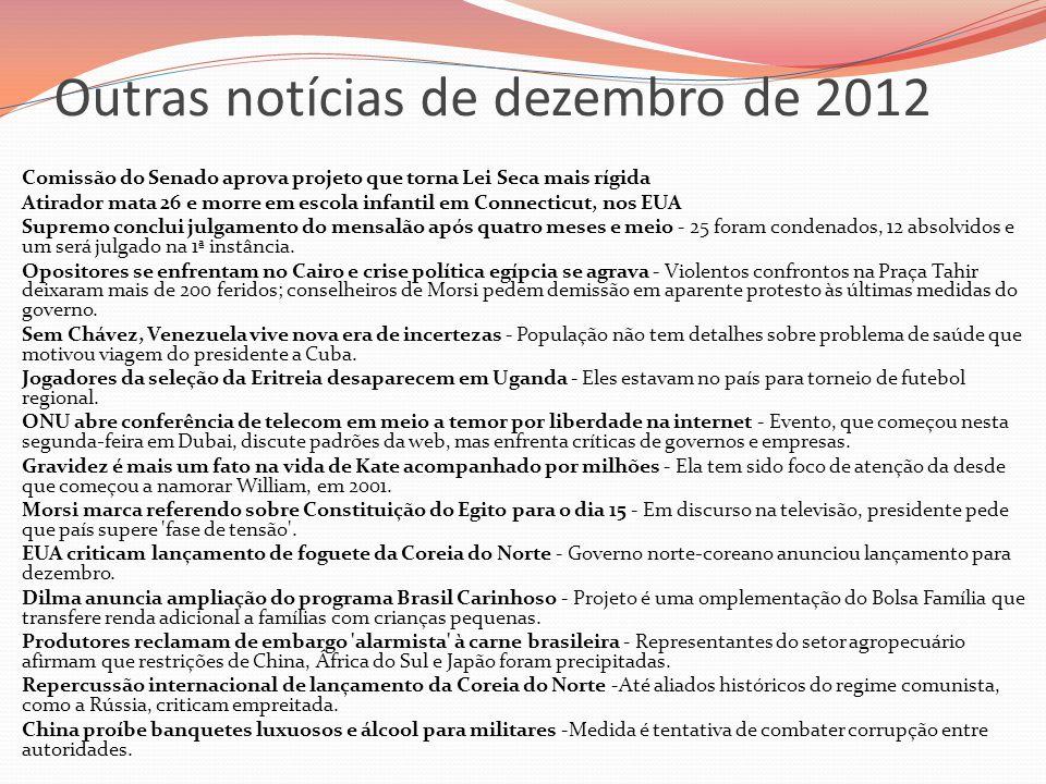 Outras notícias de dezembro de 2012