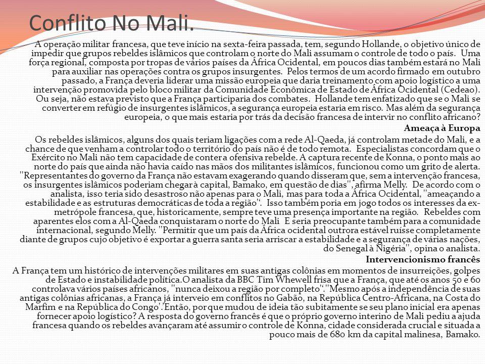 Conflito No Mali.