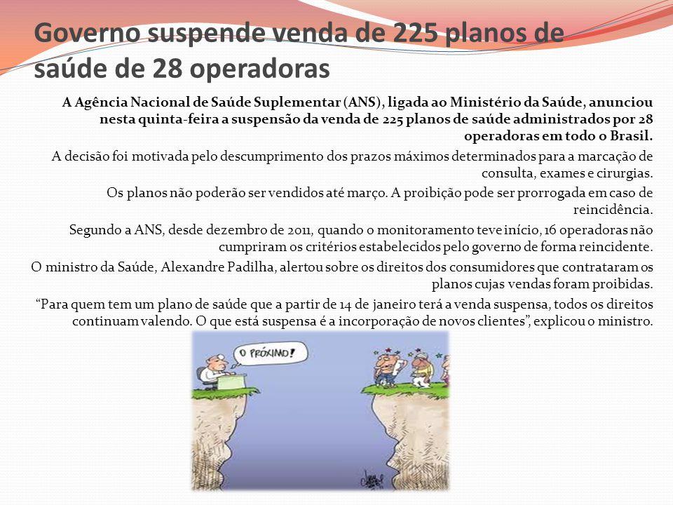 Governo suspende venda de 225 planos de saúde de 28 operadoras