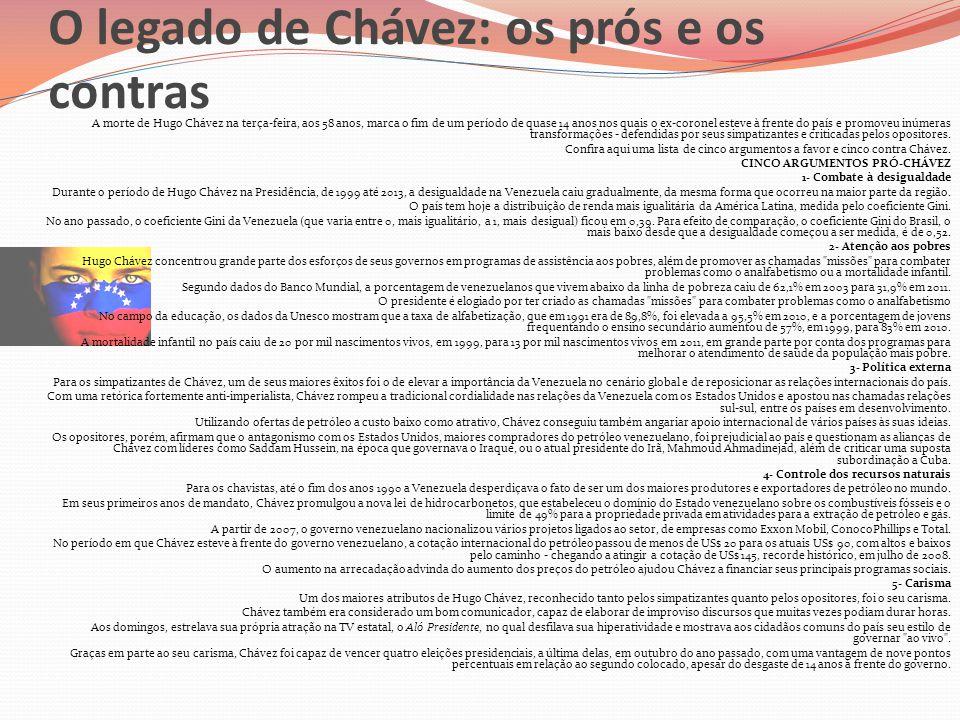 O legado de Chávez: os prós e os contras