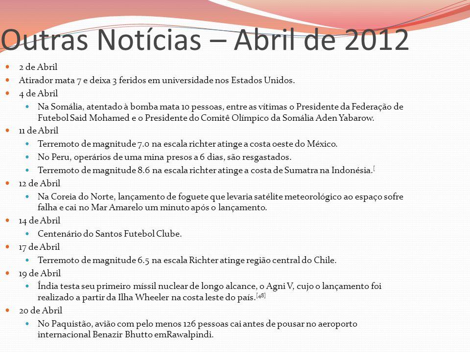 Outras Notícias – Abril de 2012