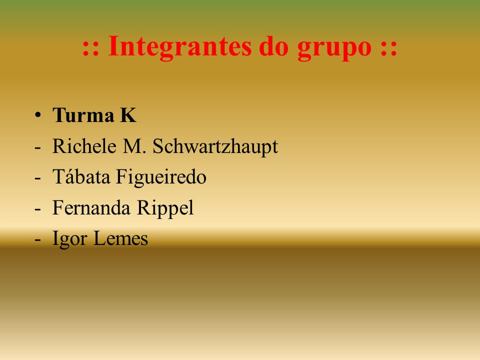 :: Integrantes do grupo ::