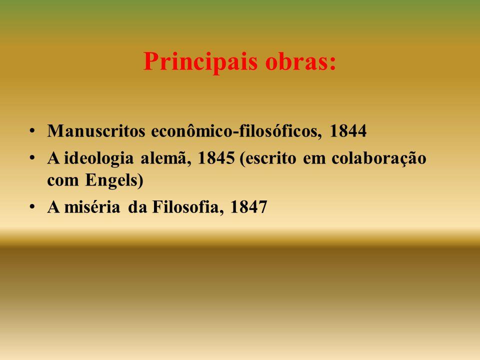 Principais obras: Manuscritos econômico-filosóficos, 1844