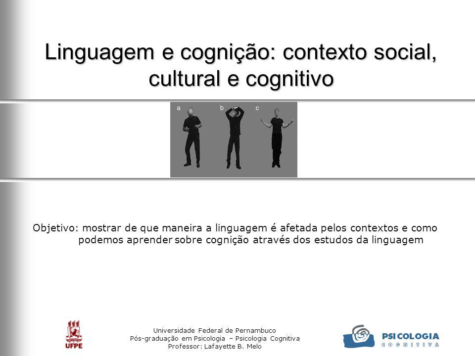 Linguagem e cognição: contexto social, cultural e cognitivo