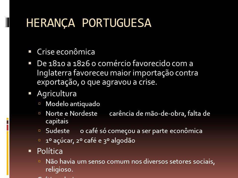 HERANÇA PORTUGUESA Crise econômica