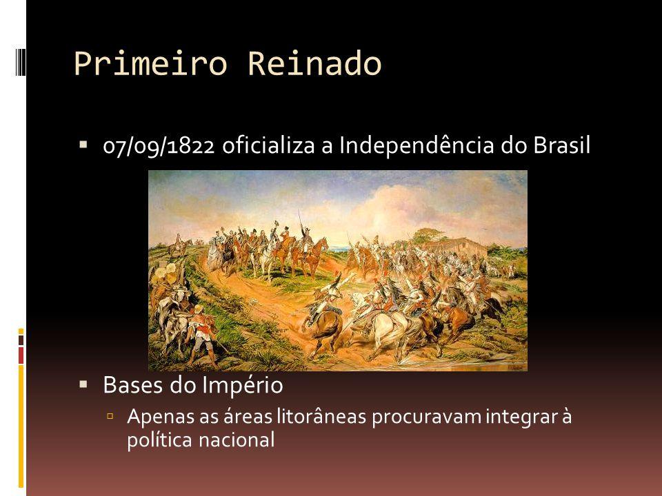 Primeiro Reinado 07/09/1822 oficializa a Independência do Brasil