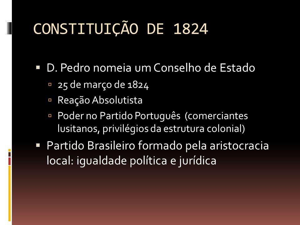 CONSTITUIÇÃO DE 1824 D. Pedro nomeia um Conselho de Estado