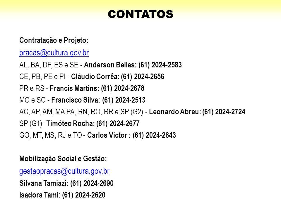 CONTATOS pracas@cultura.gov.br gestaopracas@cultura.gov.br