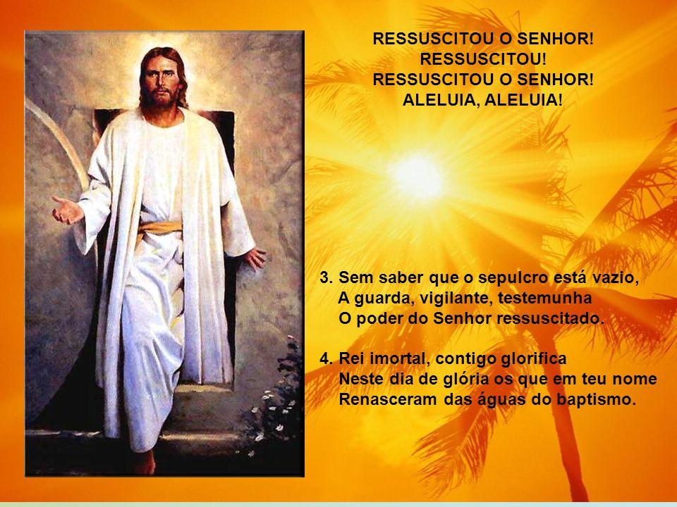 RESSUSCITOU O SENHOR! RESSUSCITOU! ALELUIA, ALELUIA! 3. Sem saber que o sepulcro está vazio, A guarda, vigilante, testemunha.